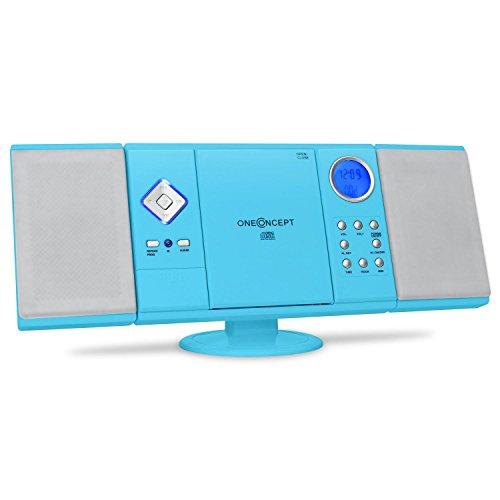 OneConcept V-12 - Stereoanlage mit CD-Player, Kompaktanlage, Microanlage, UKW Radiotuner, USB, Ordnernavigation, SD-Slot, AUX-In, Fernbedienung, Wecker, Wandmontage möglich, blau
