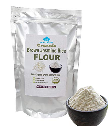 Certified Organic Fine Brown Rice Flour 2.2 LB - Thai Jasmine Rice Flour for Baking - Vegan, Wheat-Free, Gluten-Free (35.2 OZ) 1 Kg