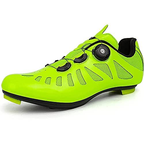 HYQW Zapatillas De Ciclismo MTB Ruta De Carretera Running Bike Ejercicio Zapatos Compatibles con SPD/SPD-SL ¡Mire Los Crampones para Bloquear Los Zapatos De Ciclismo del Pedal VIIPOO,Green-43EU