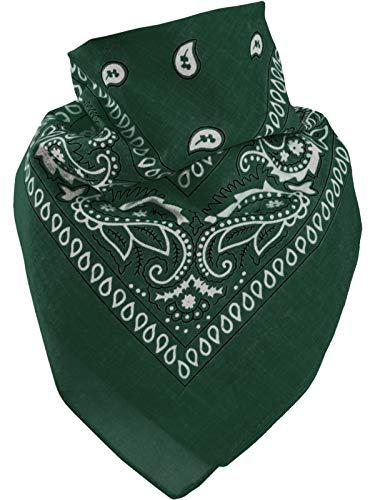 Harrys-Collection Unisex Bandana Bindetuch 100% Baumwolle (1 er 6 er oder 12 er Pack), Farbe:dunkelgrün