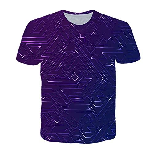 EMPERSTAR Camiseta Deporte Hombre Camiseta de Verano con Estampado Digital Geométrico En 3D Camiseta Deportiva de Gran Tamaño con Cuello Redondo Y Manga Corta Suelta
