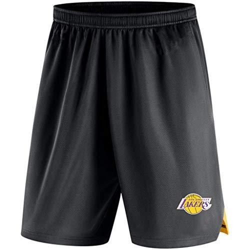 JNTM Mens Sport Shorts NBA Los Angeles Lakers di Atletica di Formazione in Maglia Pantaloni della Tuta Casuale Allentato della Squadra Logo Bicchierini della Spiaggia per La Gioventù Estate Black-S