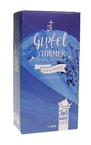 Fairhüterli Gipfelstürmer - 12 Kondome, sensitiv für mehr Gefühl - Kondomgröße 54 L+ I Fair Trade Latex I zertifiziert vegan I einzeln geprüft I Made in Germany