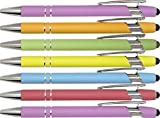 Pastel Rubberized Soft Touch | Pastel Colors | Ballpoint Pen with Stylus Tip a stylish, premium metal pen, black ink, medium point (Assorted, 7 Pack)