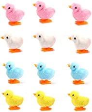 12 Pack Spring Wind Up Chicken, Fluffy Jumping Walking Chicks Novelty Toys for Kids Party Favors, Easter Egg