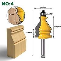 Yadianna 超硬刃ルータービット 1PC 8ミリメートルシャンクケーシング&ベース成形ルーターは木工ツールの設定CNCラインナイフ木工カッターテノンカッタービット (Cutting Edge Length : NO4)