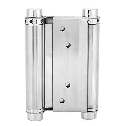 3/4/5inch Stainless Steel Door Gate Hinge Door Fittings Double Action Spring Hinges Including Pins Screws 2-Pack(4inch)