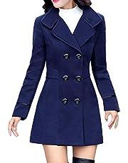 Dames tweerijen wollen mantel elegant werkpak jas FRAUIT vrouwen knoop kraag eenkleurig twee zakken elegant en modieus slak trenchcoat mantel wintermantel outwear