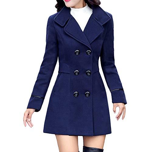 iHENGH Damen Winter Jacke Dicker Warm Bequem Slim Parka Mantel Lässig Stilvoll Frauen Wolle Zweireiher Elegante Langarm Arbeits Büro Mode Coat (3XL,Blau)