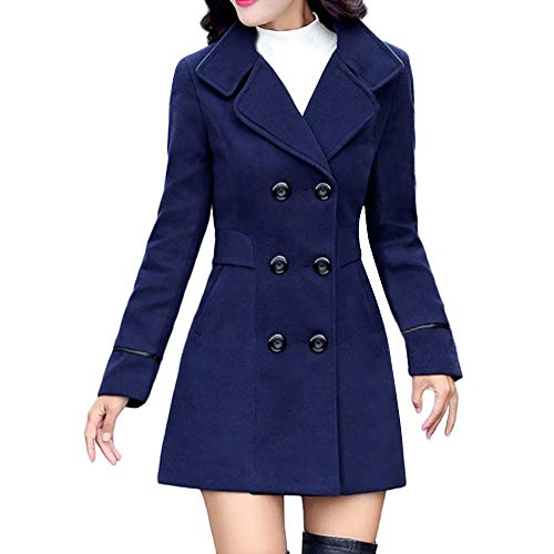 POTO Women Coats Ladies Double Breasted Pea Coat Elegant Winter Lapel Wool Coat Trench Jacket Overcoat Outwear Blue