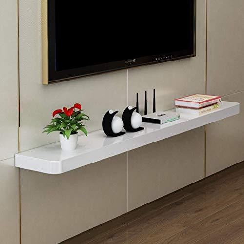Etagère Murale en Bois Massif Etagère Flottante Etagère Murale Meuble de Télévision Meuble Tv Routeur Wifi Lecteur Dvd Cd Projecteur Meuble Tv Présentoir Placez L'Étagère (Couleur: Blanc, Taille: 100