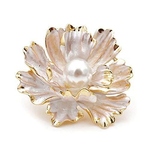 RWJFH Broche Broches de peonía esmaltados Disponibles para Mujer Broches Grandes de Pasador de Flores de Boda, Blanco