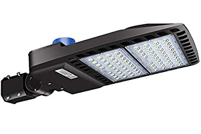 LEDMO LED Parking Lot Light 200W - Waterproof IP65 LED Shoebox Area Light with Photocell - 5000K 600W Equivalent - Knuckle Slipfitter Mount - 26000 LM