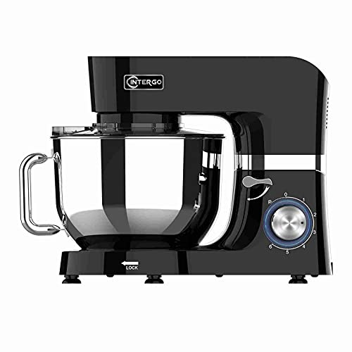 Küchenmaschine 1500W Knetmaschine mit 6,2L Edelstahlschüssel, 6 Geschwindigkeiten, Rührmaschine Teigmaschine inkl. Rührbesen, Knethaken, Schlagbesen, Spritzschutz und Teigschaber Schwarz