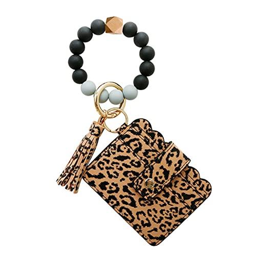 lefeindgdi Pulsera de anillo de llavero, pulsera de cuentas de silicona multifuncional, bolsa de tarjeta de identificación para mujer, brazalete con cuentas con borla de leopardo