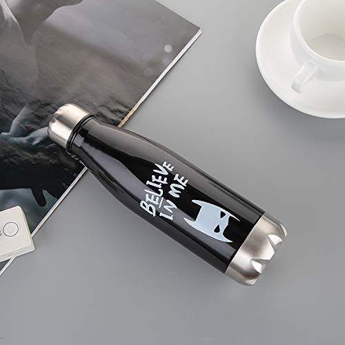 Renfengchui Pratique 304 en Acier Inoxydable Coke Bouteille Thermos Tasse Créative Mignonne Coke Cup Cadeau Bouilloire De Sport 500Ml Batman Noir