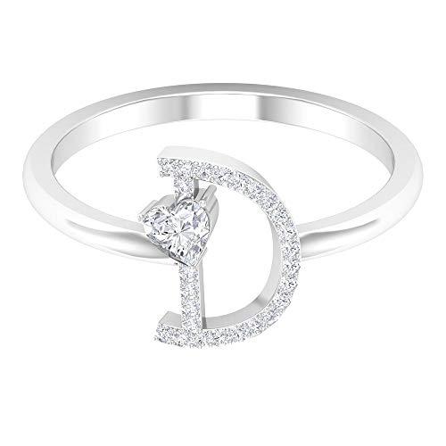 D Alphabet Ring, 3,5 MM Herzform Diamantring, HI-SI Diamant Initial Ring, Gold Verlobungsring, Personalisierte Gravur Ring, Einzigartiger Buchstabenring, 14K Weißes Gold, Diamant, Size:EU 67