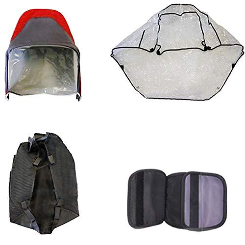 Excel Elise - Pack de accesorios de viaje para cochecito de bebé, parasol para lluvia, cesta, almohadilla para el pecho para cochecito Excel Elise, color rojo