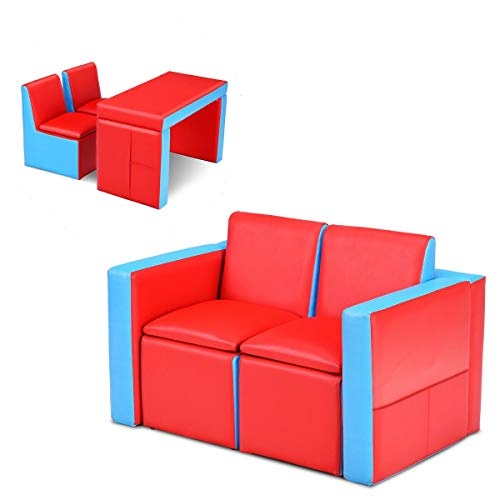 Costzon Kids Sofa, 2 in 1 Double Sofa Convert to Table and Two Chairs, Toddler Lounge with Wooden Frame and PVC Surface, Children Boys Girls Couch Armrest Chair Double Seats with Storage Space (Red)