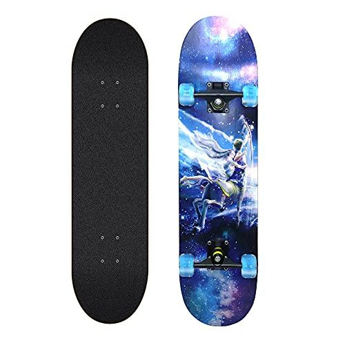 Skateboard Roues Lumineuses, Constellation Skateboards, ABEC-11, 8 Couches d'érable pour Debutant, Fille, Adulte, Enfant (Sagittaire)