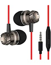 pTron HBE6 Headphone (High Bass Earphones) Metal in-Ear Wired Headset with Mic for All Smartphones (Red & Black)