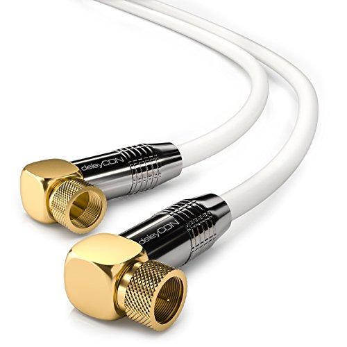 deleyCON 3m SAT Antennenkabel HDTV Satellitenkabel Koaxialkabel 2X Gewinkelt - F-Stecker (90° Grad) zu F-Stecker (90° Grad) - Metallstecker - Weiß