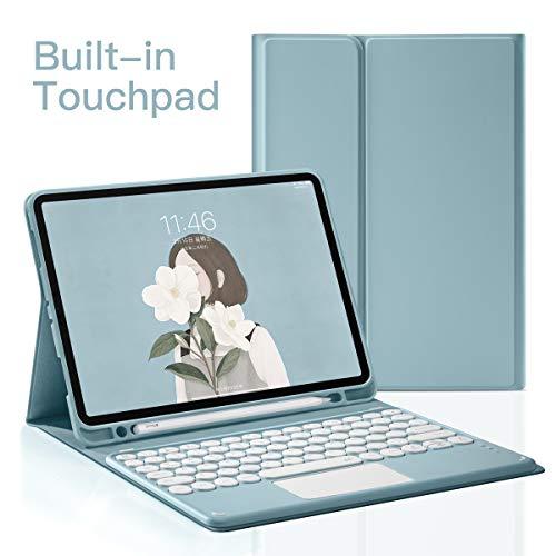 New iPad Pro Bluetooth Touchpad 11 Keyboard Case 2020,Wireless Detachable iPad Keyboard Case with Pencil Holder,Auto Sleep/Wake (Blue)
