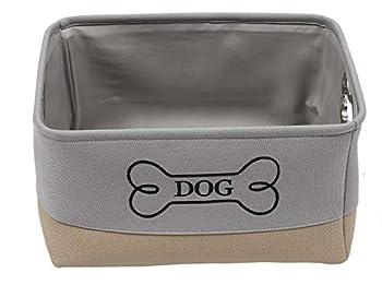 Brabtod Panier de rangement pour jouets et accessoires pour animaux domestiques – Parfait pour ranger jouets, couvertures, laisses et nourriture en « os de chien » brodé, gris/kaki