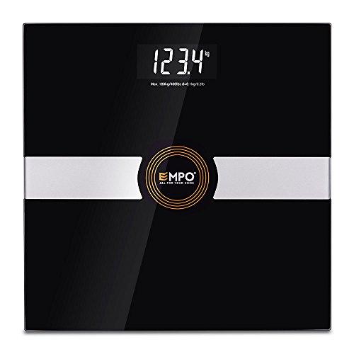 Preisvergleich Produktbild EMPO Badezimmerwaage Digitale Körpergewicht waage von hohen Ganauigkeit - große LightOnDark Digitalanzeige - messt das Gewicht genau und konsequent - intelligente StepAndRead Technologie - Schwarz