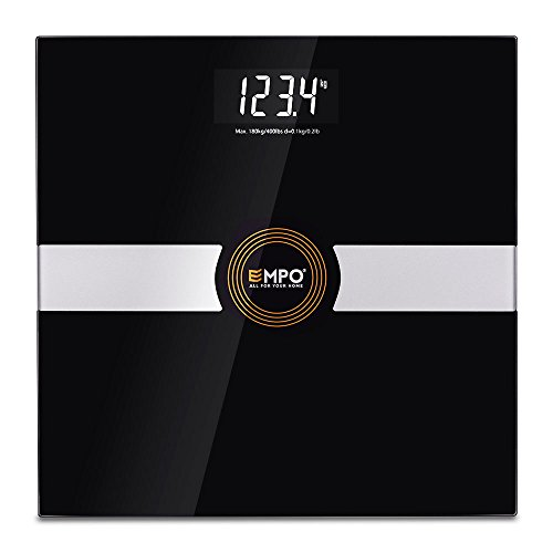 Balanza EMPO® Premium de baño – Balanza digital de alta precisión para el peso corporal – Calcula el peso de manera precisa y consistente – Tecnología inteligente StepAndRead – Negro
