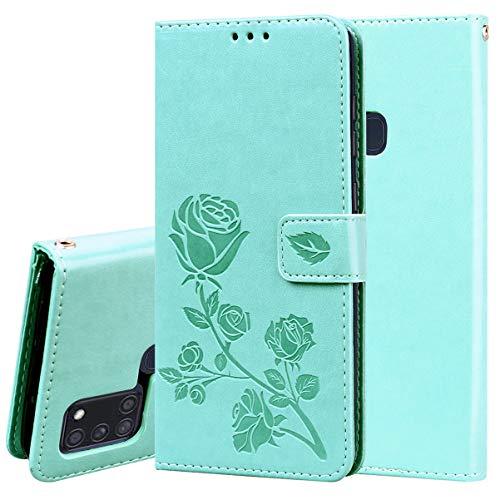 TANYO Hülle Geeignet für Samsung Galaxy A21s, Wallet Tasche Hülle, Retro Blumen Muster Design, Premium PU Leder Tasche Flip Wallet Hülle, mit Kartenfächern & Standfunktion. Grün