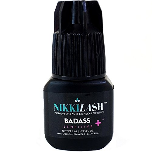 NIKKILASH BADASS SENSITIVE+ Eyelash Extension Glue   Latex-free For Extreme Sensitive Allergy Clients - Formulated to Increased Durability and Flexibility - Non-irritating Fume-free and Odorless - 5ML