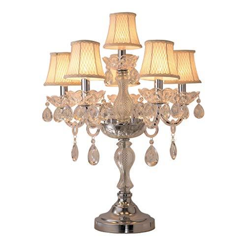 Lámparas de Escritorio Gran mesa tradicional lámpara de vela de cristal titular Revestimiento del hardware lámpara de mesa con 6 piezas de Pantalla Beige conveniente for el dormitorio Living Room Hote