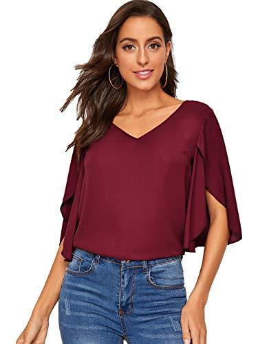 DIDK Damen Chiffon Bluse Halbarm Tunika Blusen V Ausschnitt Leicht Shirt mit Trompetenärmeln Oberteil Bordeaux L