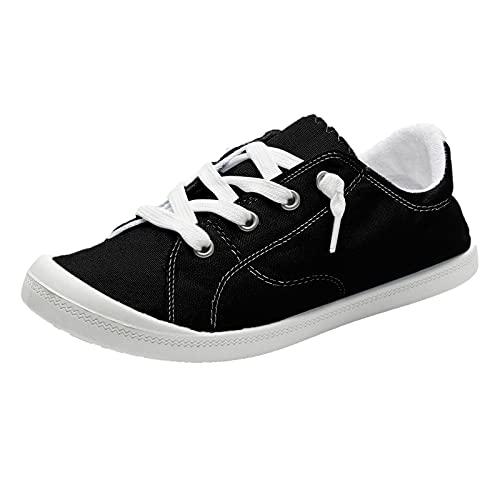 URIBAKY - Zapatillas de lona para mujer, estilo bohemio, suave, zapatos planos y transpirables, suaves y cómodos, para exteriores, fitness, senderismo, Le Noir, 42 EU