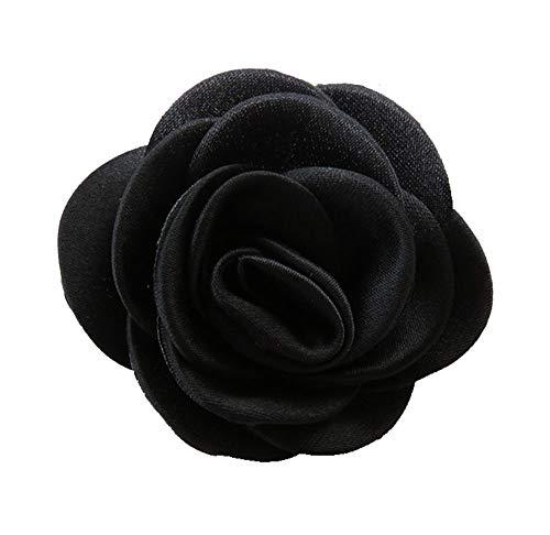 Cheerlife Ansteckblumen Brosche Krawatte Brosche Kamelie Boutonniere Haarclip Haarklipp Blumen Haarspange Schwarz