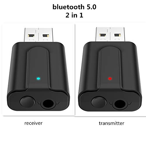 lyndeluxe USB Bluetooth 5.0 Adapter 2 in 1, USB Bluetooth Receiver/ Transmitter, Audio Adapter for Home/Car/Laptop Bluetooth Dongle, AUX-in 3.5 mm Jack, Denoise HIFI Music