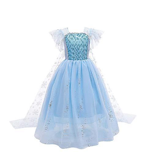 Greneric Princesa Vestido de Nieve Vestido de Fiesta de la Reina Disfraz de Princesa Cosplay Vestir - azul - 10-11 aos