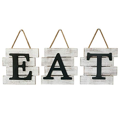 """Barnyard Designs Eat Sign Wall Decor, Rustic Farmhouse Decoration for Kitchen and Home, Decorative Hanging Wooden Letters, Country Wall Art, Distressed White and Black, 24' x 8"""""""