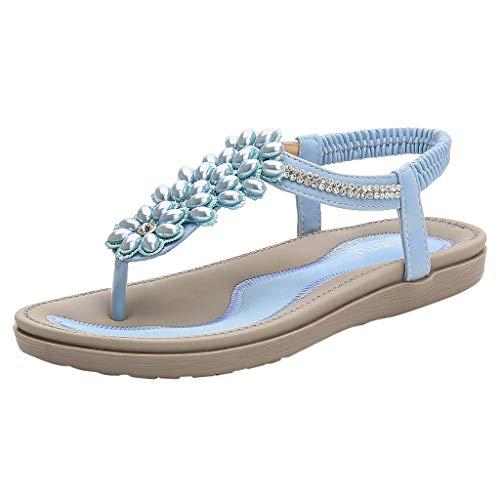 PAOLIAN Sandalias Mujer Verano 2020 Fiesta Planas Sandalias de Mujer Vestir Playa Baratas Bohemia Bonitas Chanclas T-Strap con Piedras Zapatos Mujer Elegantes Casual Comodas