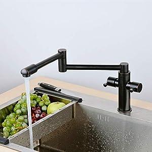 Grifo de cocina con dos palancas plegables para fregadero de cocina, color negro mate
