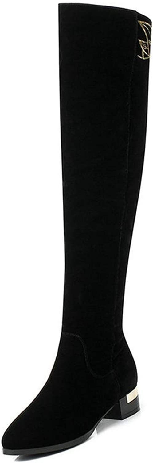 Women Over The Knee High Boots Square High Heels Winter Zipper Rubber Fashion Elegant Pointed Toe shoes