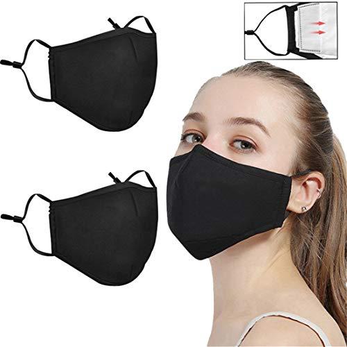jfhrfged Ajuste de algodón Transpirable a Prueba de Polvo Reutilizable de protección para Adultos con Alto elástico Ear Loop 2PCS (Negro)