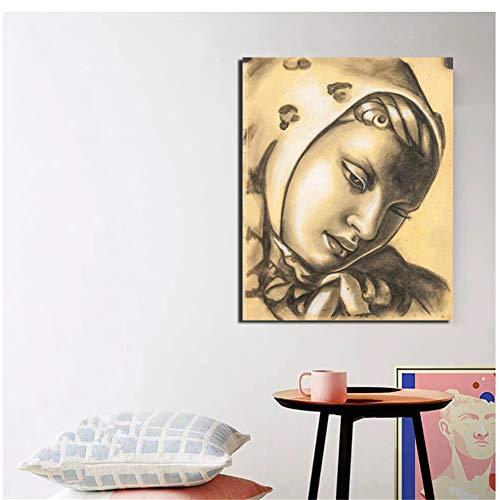 nr Tamara de Lempicka Skizzen Wandkunst Leinwand Poster Drucke Gemälde Wandbild für Wohnzimmer Home Decoration -50x60cm No Frame