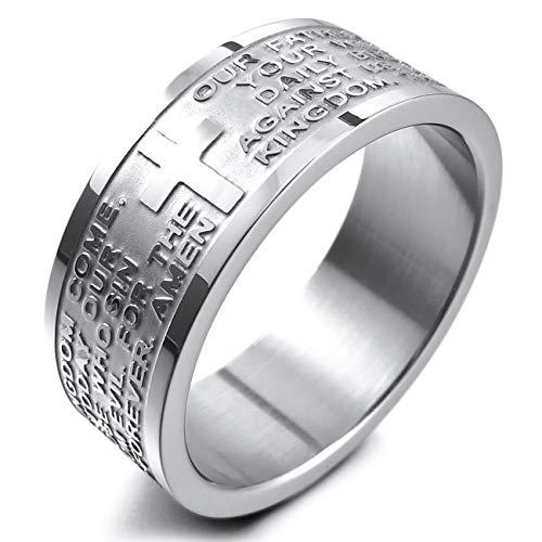 MunkiMix Breite 8mm Edelstahl Ring Band Silber Ton Englisch Bibel Herr Gebet Kruzifix Kreuz Größe 54 (17.2) Herren,Damen