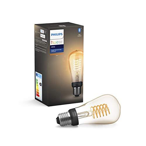 Philips Lighting Hue White Filament ST64 - Lampadina a Flamento Connessa, con Bluetooth, Dimmerabile, Attacco E27, 7W, 1 Pezzo