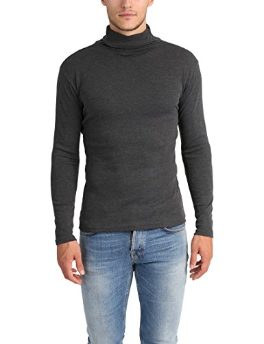 Lower East Herren Slim Fit Rollkragen Rollkragenpullover,Grau (Anthrazit Melange - 1er Pack),Medium