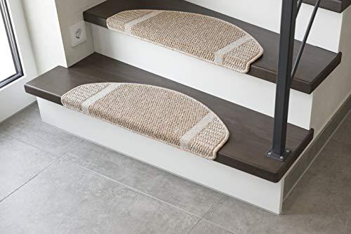 andiamo Stufenmatte Runner Set für Treppenstufen Treppenmatte halbrund 15-Stück, beige, 28x65 cm