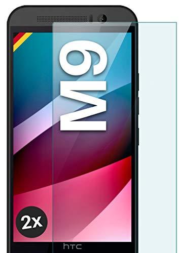moex Panzerglas kompatibel mit HTC One M9 - Schutzfolie aus Glas, bruchsichere Bildschirmschutz Folie, Crystal Clear Panzerglasfolie, 2X Stück