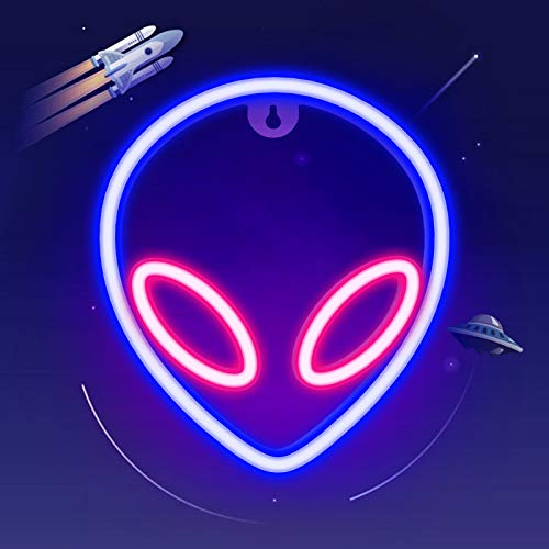 ifreelife Alien Neon Lights for Wall Decor Battery/USB Operated Decorative Led Neon Signs Blue-Pink Alien Neon Signs Light up for Home,Kids Room,Bar,Festival,Birthday,Christmas,Wedding Party